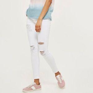 Topshop Moto Jamie Skinny Distressed White Jeans